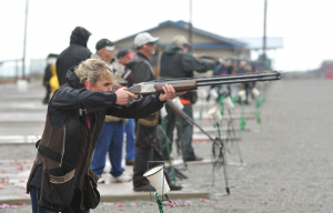 A competitor at the Pocatello Trap Club takes a shot during a shoot (2015) Photographer: Doug Lindley/Idaho State Journal
